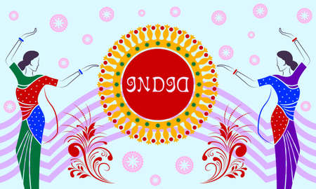 Indian women in national costumes dance on pattern mandala background. Hand drawn color vector, illustration.