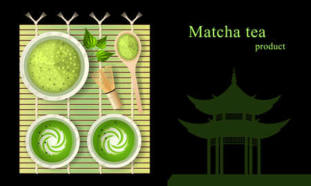 Matcha green tea latte with milk in cups on bamboo mat