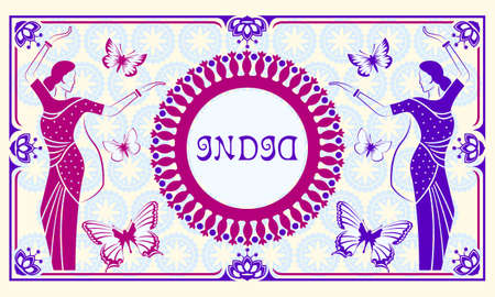 Indian women in national costumes dance on pattern mandala and butterflies background