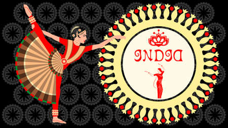 Indian women in national costumes dance hand drawn color vector. Illustration