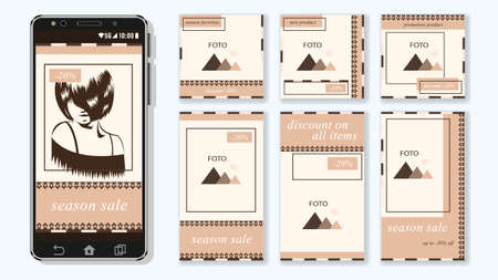 Trendy editable Stories template. Design social media. Illustration