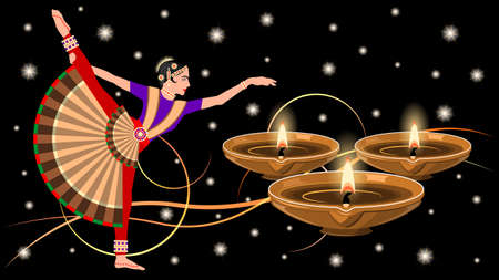 Indian woman in national costume dance color vector.