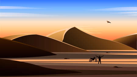 Man with a motorcycle in the desert, Realistic landscape. Illustration