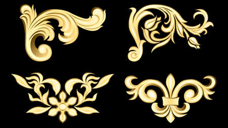 gypsum, gold metal products, stucco weave, pattern isolated Illustration
