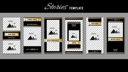 Trendy editable Stories gold frame template. Design social media.