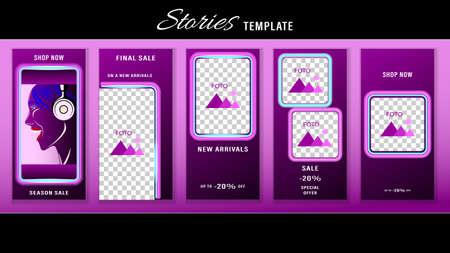 Trendy editable Stories neon template. Design social media.