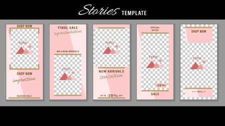 Trendy editable Stories pastel pink color geometric frames. Design social media. Illustration