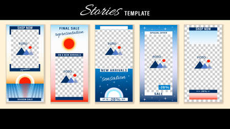Trendy editable Stories change of day and night. Design social media.