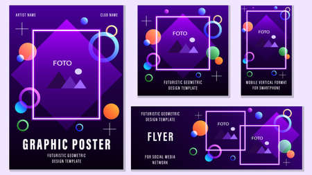 Set Flyers Futuristic Geometric Templates for Social Media.