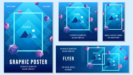 Set flyers of different templates trendy editable fluid design. Design for social media.