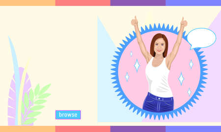 Smiling brown haired woman reaches hands up cartoon style Illustration