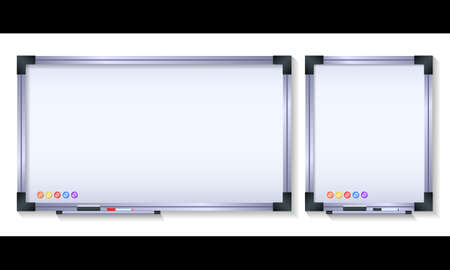 Set magnetic board with metal frame for office isolated