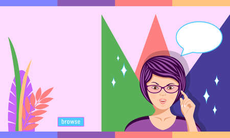 Woman in glasses outraged emotion cartoon style