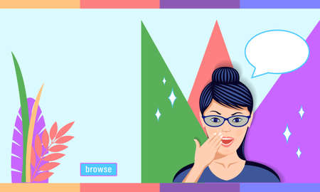 Woman in Glasses in Amazement Emotion cartoon style Illustration