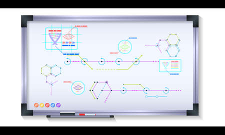 Scientific infographics on magnetic board with metal frame