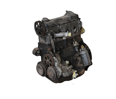 diesel generator: Car engine isolated on white background