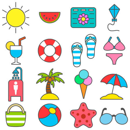 Summer set of travel and vacation icons on the sea coast in flat style. Vector illustration. Ilustración de vector