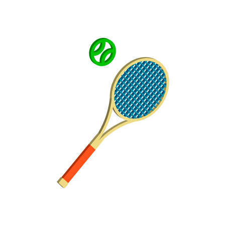Tennis racket.Vector isometric and 3D view.
