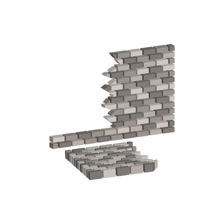 Ruined brick wall.Vector isometric and 3D view.