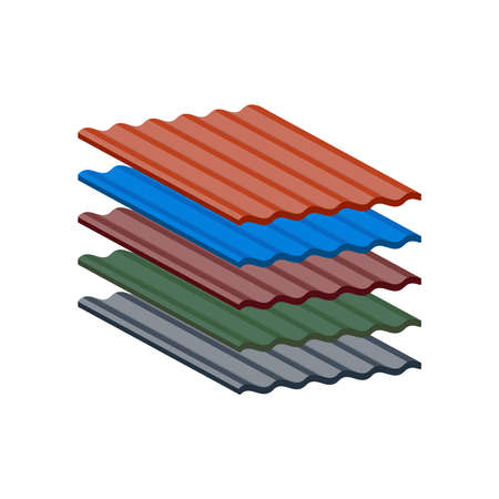 Slate roofing in the range of five popular colors isolated on white background. Vector Illustration