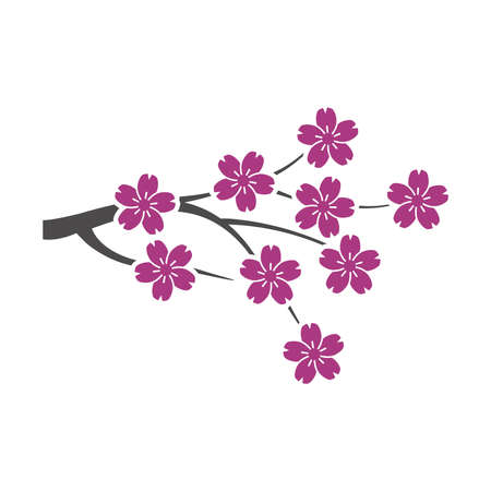 Blooming Japanese Sakura icon in a flat style isolated on white background. Vector illustration. Vetores