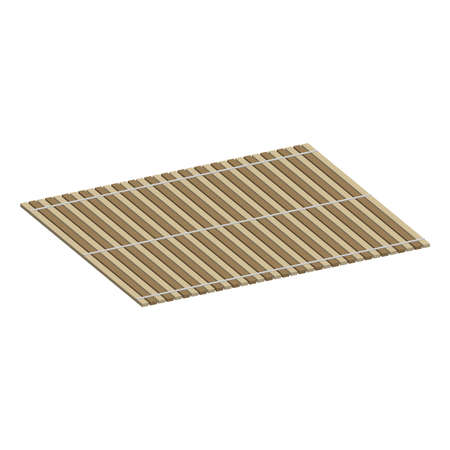 Mat of bamboo for twisting sushi rolls.3d vector illustration and isometric view.