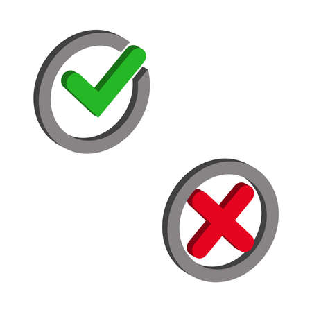 Check mark tick and cross cancel icon isolated on white background.Vector isometric and 3D view. Vektorgrafik