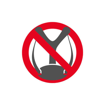 Prohibition sign.Forbidden to shoot a slingshot in flat style.Vector illustration. Ilustração Vetorial