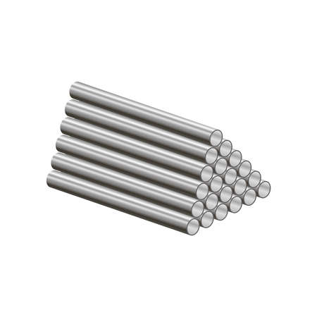 Realistic metal pipes are folded into a pyramid isolated on white background.3d vector illustration and realistic isometric view.