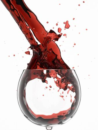Vine splashes in glass. isolated on white photo