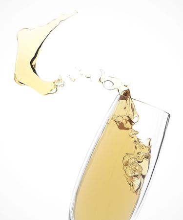 champagne splashes in glass. isolated on white