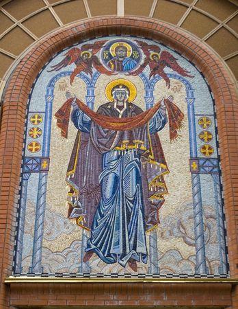 fresco: fresco over church entrance Stock Photo