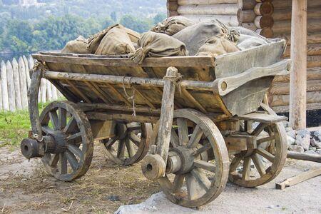 old wood farm wagon: old traditional ukrainian telega
