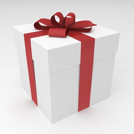 white gift box with red ribbon and bow photo