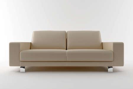 3d beige sofa isolated on white background photo