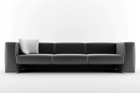 3d black sofa isolated on white background photo