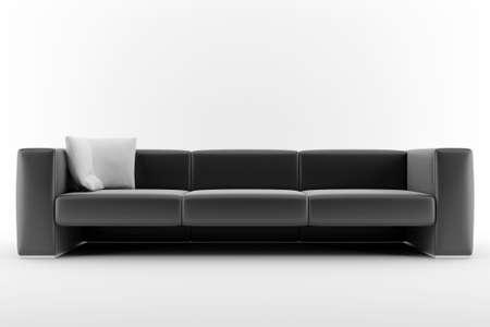 3d black sofa isolated on white background