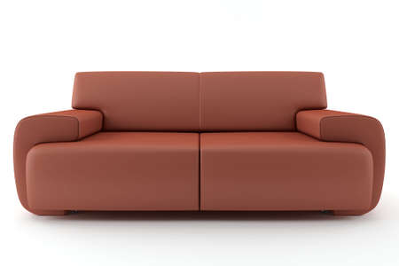 3d brown sofa isolated on white background