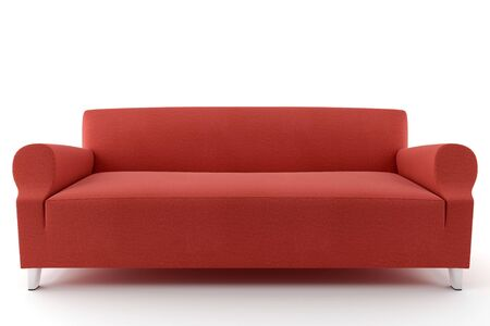 3d red sofa isolated on white background