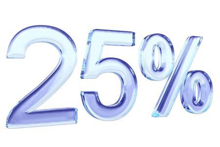 twenty five: veinticinco por ciento de vidrio azul signo aislado en blanco  Foto de archivo