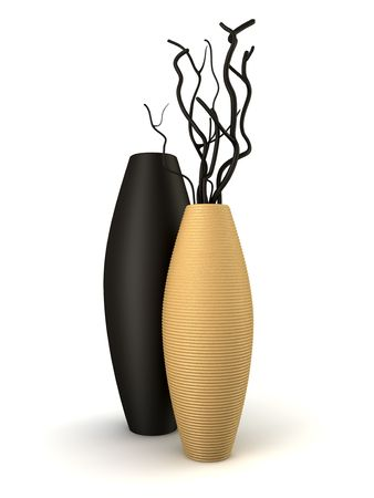 two brown and black vases with dry wood isolated on white
