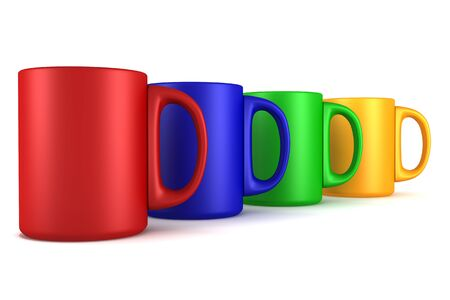 cup four: four color ceramic cups isolated on white Stock Photo