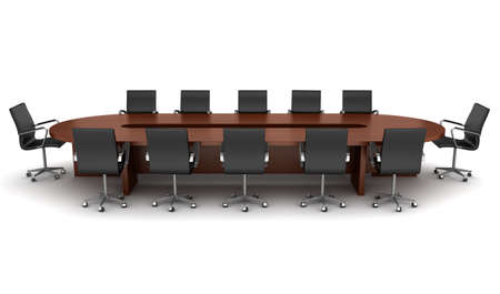 convention: brown meeting table with black chairs isolated on white Stock Photo