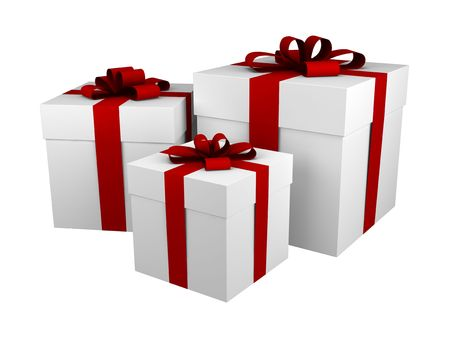 three white gift boxes with red ribbon and bow isolated on white Stock Photo