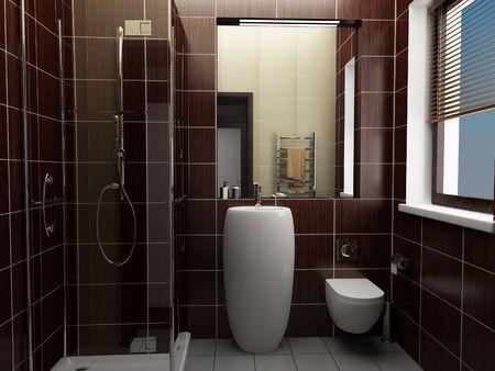 modern bathroom with brown tiles Stock Photo