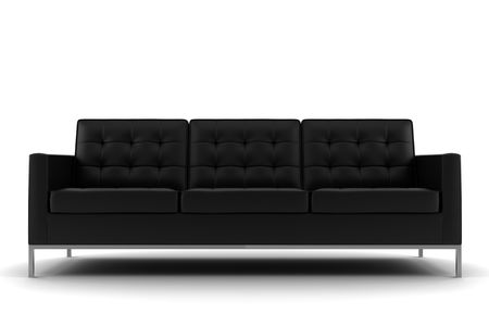 divan sofa: black sofa isolated on white background Stock Photo