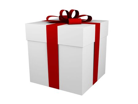 one white gift box with red ribbon and bow isolated Stock Photo - 3876669