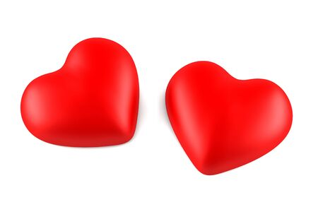 two red hearts isolated on white background photo