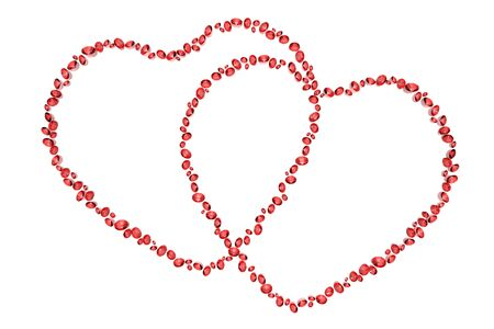 red diamonds in two hearts shape isolated on white background photo