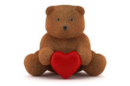 Valentine teddy bear holding a heart isolated on white photo